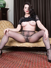 Brunette MILF Karina Currie slipped on a lace mini dress and slinky grey pantyhose and D'Orsay heels